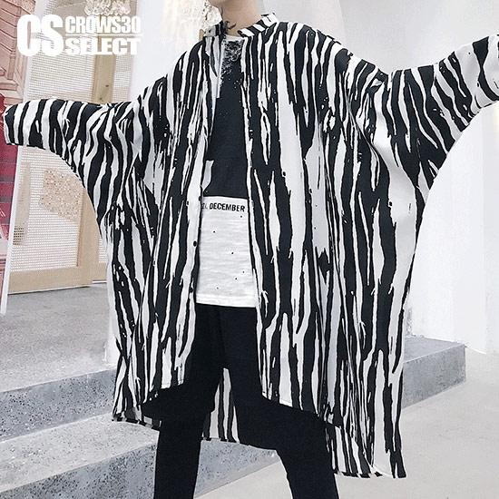シャツ メンズ ゼブラシャツ ストライプシャツ モード系ファッションノーカラーシャツ 長袖 シャツ ブラック 黒 ホワイト 白 グレー インポート 送料無料 秋 冬 新作 個性的 V系 ビジュアル系 ホスト スーツ ホストスーツ 衣装 ストリート系 韓国