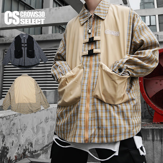 チェックシャツ メンズ ストリート系 ベスト 変形 ロングシャツ ビッググシャツ オーバーシルエットシャツ 大きいサイズ ビッグプリント 長袖 シャツ インポート 2020 春 秋 冬 新作 30代 40代 個性的 V系 ビジュアル系 衣装 ストリート系 韓国 イエロー ネイビー