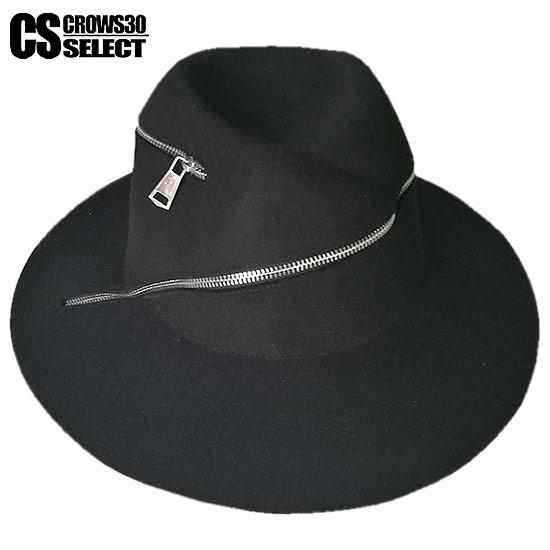 ハット メンズ つば広ハット 変形 ZIP ジッパー ウールハット プレート インポート 男 帽子 個性的 V系 ビジュアル系 モード系 ストリート系 ファッション 衣装 大人 ユニセックス メンズファッション レディース ブラック 黒 お兄系