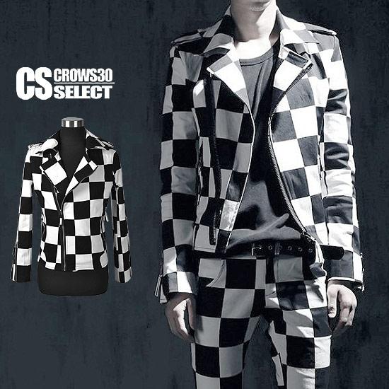ライダースジャケット メンズ インポート ブロックチェック 格子 ショート丈 V系 個性的 細身 タイト 衣装 秋 冬 新作 30代 40代