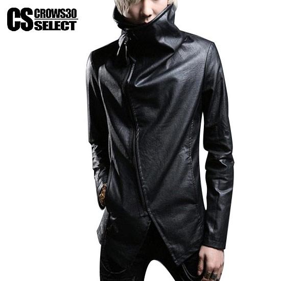 ライダースジャケット メンズ インポート ボリュームネック 変形 V系 個性的 細身 タイト 衣装 秋 冬 新作 30代 40代 PU レザージャケット