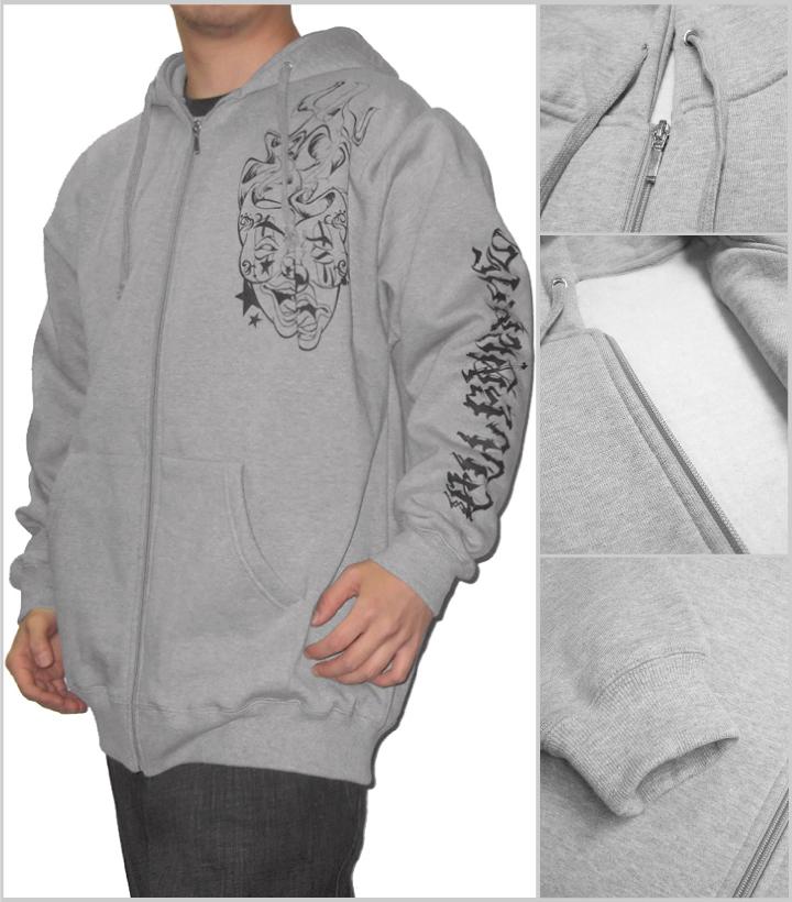 AFO TWO FACE hoodies Zip Hoodie back brushed grey