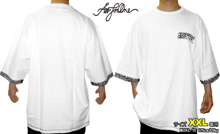 白【完全受注生産】ホワイト 半袖 Tシャツ shirts SIZE BIG ビッグサイズ PAISLEY バンダナ柄 BANDANA ティーシャツ T 大きいサイズ AFO
