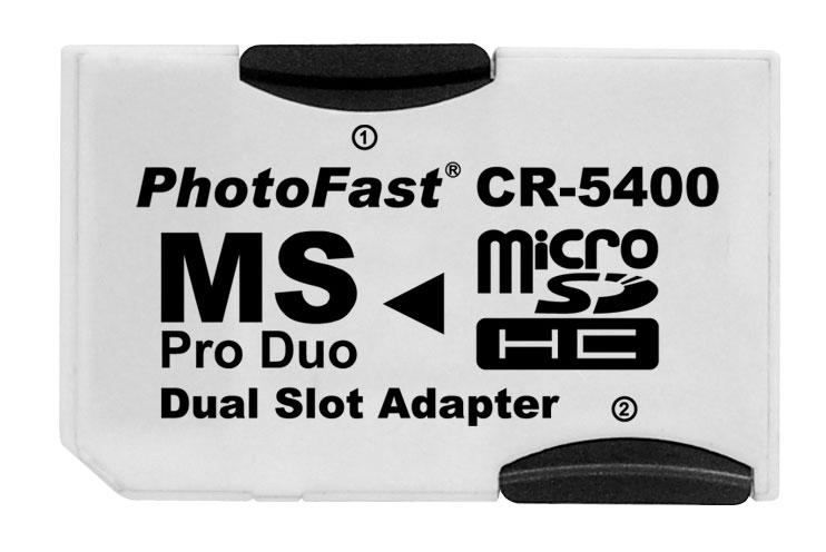 メ-ル便 限定特価 CR-5400 マイクロSDをメモリースティックに変換 SR ミニレター 送料込 Photofast デュアルアダプター microSDHCをメモリースティックへ変換 できるアダプター 白 PSPのデータ整理 DUOへ変換 ホワイト セーブデータ microSDをPRO 激安セール 容量アップ 0020-00 2枚挿し バックアップ