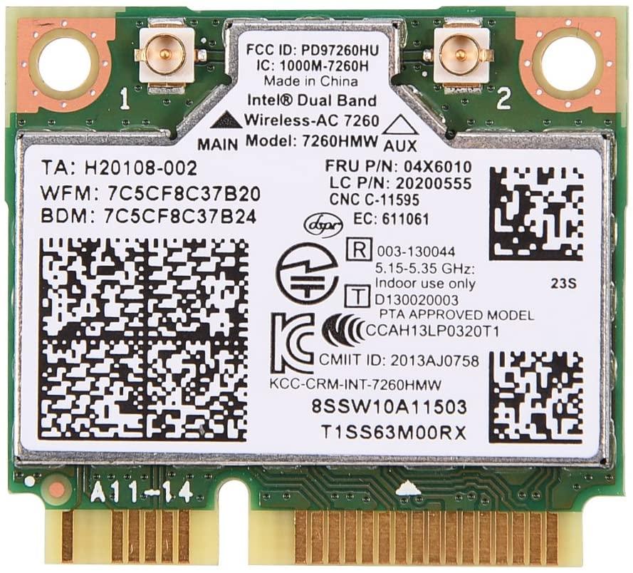 メール便 Band Broadcom Wireless Network Interface Card Lenovo Version 7260HMW SR ネコポス 2.4GHz 送料込 インテル7260AC 5GHz デュアルバンドWiFi 最大速度867Mbps 数量は多 4178-00 Wlanカード04X6010 WiFiブルートゥース4.0 7260HMWデュアルバンド LenovoレノボThinkPad用 ランキング総合1位