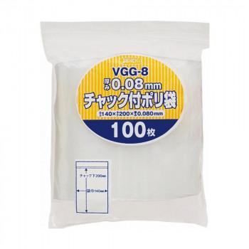同梱不可 人気激安 ジャパックス チャック付ポリ袋 厚み0.080mm 透明 100枚×25冊 新作入荷!! VGG-8