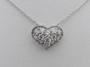 K18ホワイトゴールド ぷっくりハート 0.50CTダイヤモンドペンダントネックレス10P03Dec16