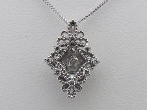 K18ホワイトゴールド 菱形 0.150CTダイヤモンドペンダントネックレス10P03Dec16