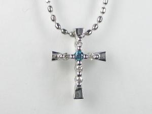 K10WGダイヤ/ブルーダイヤ ペンダント ネックレス10P03Dec16