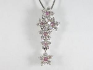 K18WG ホワイトゴールドダイヤモンド/ピンクサファイア ペンダント ネックレス10P03Dec16