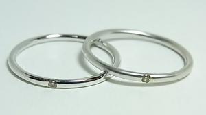 0.01CTダイヤモンド K10ホワイトゴールド シンプルペアリング(石ありと石なしの組み合わせ)10P03Dec16