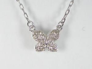 K10WG ホワイトゴールドダイヤモンドバタフライ ペンダント ネックレス10P03Dec16