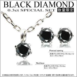 【ジュエリーケース付】天然ブラックダイヤ2点(ネックレス&ピアス)セット!計0.3ct10P03Dec16