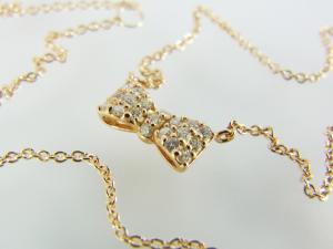 リボンモチーフ K10PG ダイヤモンド ネックレス10P03Dec16