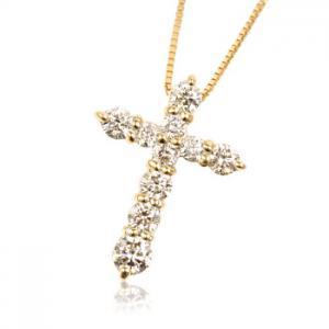 K18YG 0.5ctダイヤモンドクロス ネックレス10P03Dec16