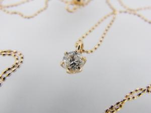 一粒ダイヤモンド K18PG ペンダントネックレス【彼女や奥様へ】【クリスマスプレゼントに】10P03Dec16