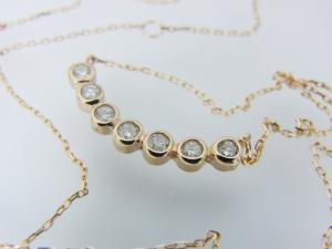 幸せの7粒ダイヤモンド K18PG ペンダントネックレス10P03Dec16