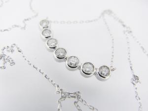 幸せの7粒ダイヤモンド K18WG ペンダントネックレス10P03Dec16
