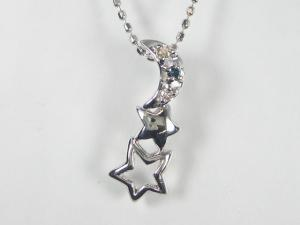 K18WGダイヤ/ブルーダイヤ ペンダント ネックレス10P03Dec16