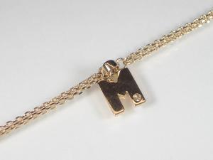 イニシャル「M」K10PGダイヤブレスレット10P03Dec16