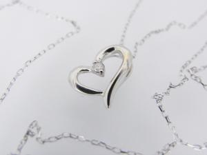ハートモチーフ K10WG ダイヤモンド ペンダントネックレス10P03Dec16