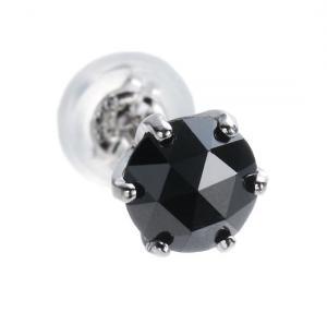 魅惑のローズカット!プラチナ×大粒ブラックダイヤモンド0.5ct ピアス (片耳用)【送料無料】10P03Dec16