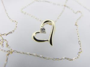 ハートモチーフ K10 ダイヤモンド ペンダントネックレス10P03Dec16