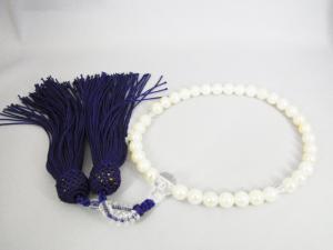 【片手念珠(白)】 あこや本真珠 6.5~7.0mm 人絹/紫房【P06Dec14】
