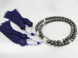 両手念珠 卸売り 黒 あこや本真珠 7.0~7.5mm 人絹 紫房 P06Dec14 日本限定