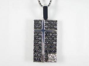 K18WG ホワイトゴールド ブラックダイヤモンド/ダイヤ ペンダント ネックレス10P03Dec16