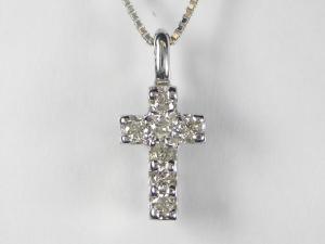 K18WG ホワイトゴールドダイヤモンド/マルチクロス ペンダント ネックレス10P03Dec16