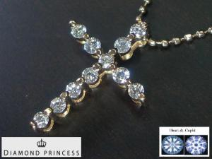 K18PG ピンクゴールドダイヤモンド クロス ペンダント ネックレス10P03Dec16