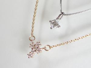 K10WG ホワイトゴールド/PG ピンクゴールドダイヤモンド クロス ペンダント ネックレス10P03Dec16