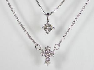 K10WG ホワイトゴールドダイヤモンド クロス ペンダント ネックレス10P03Dec16