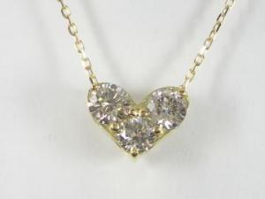 K18YG イエローゴールドダイヤモンド ハート ペンダント ネックレス10P03Dec16