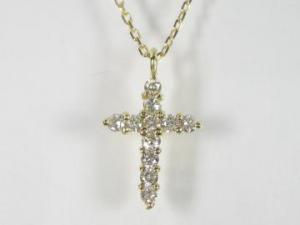 K18YG イエローゴールドダイヤモンド クロス ペンダント ネックレス10P03Dec16