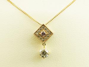 菱形ピンクダイヤモンド 18Kピンクゴールドネックレス10P03Dec16