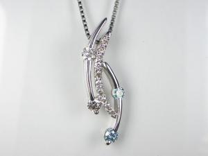 PT900ダイヤ/ブルーダイヤ ペンダント ネックレス10P03Dec16