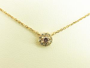 丸型ピンクダイヤモンド 18Kピンクゴールドネックレス10P03Dec16