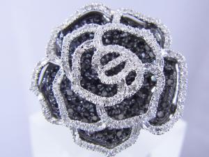 1.57CTブラックダイヤモンド ローズリング10P03Dec16