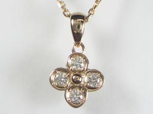 K18PG ピンクゴールドダイヤモンド フラワー ペンダント ネックレス10P03Dec16