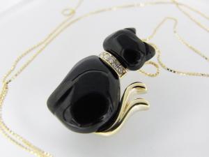 【necomata】幸運のシンボル黒猫のねこまたさん ペンダントネックレス K10YG10P03Dec16