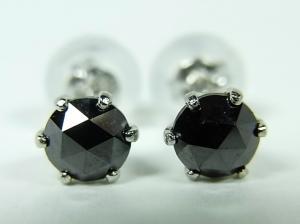 プラチナ ブラックダイヤモンド ピアス 0,5CT10P03Dec16