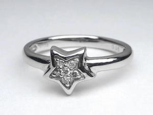 K18WG ホワイトゴールドダイヤモンドスター リング10P18Jun16