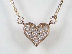 女の子はハートが大好きK10PG ピンクゴールドダイヤモンド ハートハート ペンダント ネックレス 【送料無料】10P03Dec16