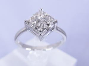 0.41CTプリンセスカットダイヤモンド4石 プラチナリング10P03Dec16