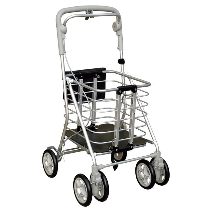 須恵廣工業 アルミワゴンM ショッピングカート シルバーカー 4輪 杖立て付