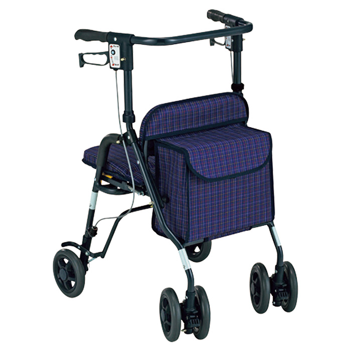 島製作所 シンフォニーSP 格子紺 歩行車 杖立て付 歩行器