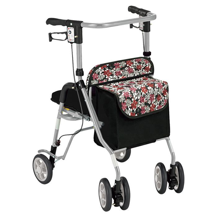 島製作所 シンフォニーSP 花柄BK 歩行車 杖立て付 歩行器