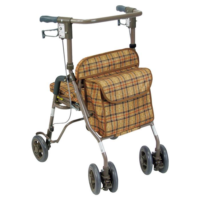 島製作所 シンフォニーSP CLブラウン 歩行車 杖立て付 歩行器